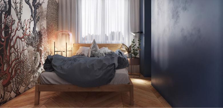 Aranżacja sypialni z drewnianym łóżkiem