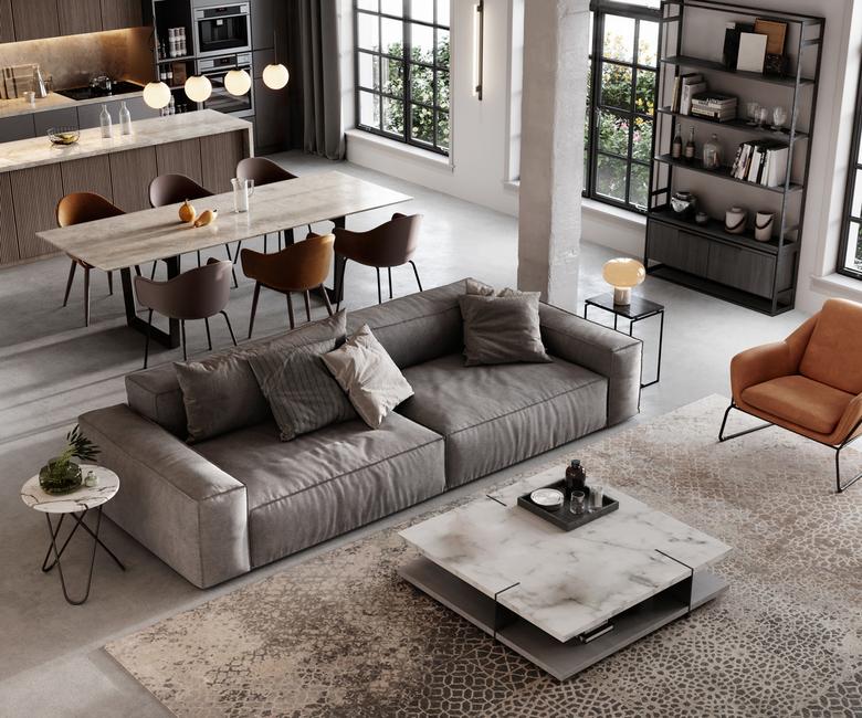 salon i kuchnia w stylu loftu