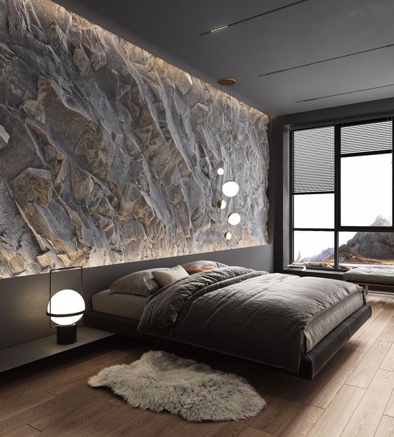 Sypialnia ze ścianą o strukturze skały