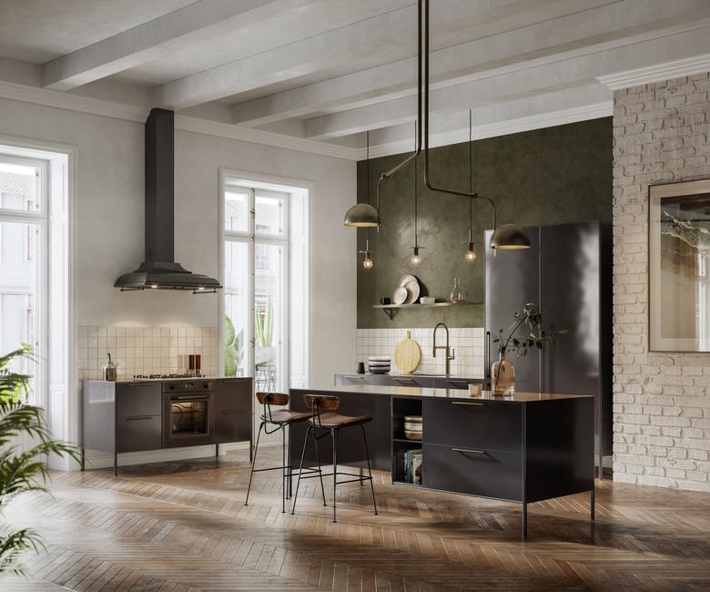 czarna kuchnia w stylu loftowym