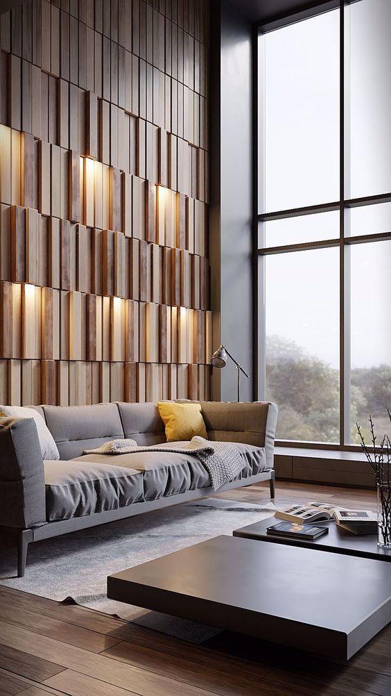drewniane panele 3D, podświetlone