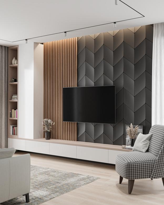 pomysł na ścianę za telewizorem