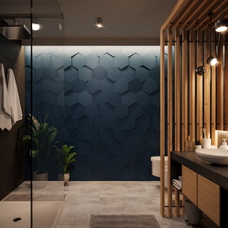 granatowa ściana z paneli 3D, łazienka