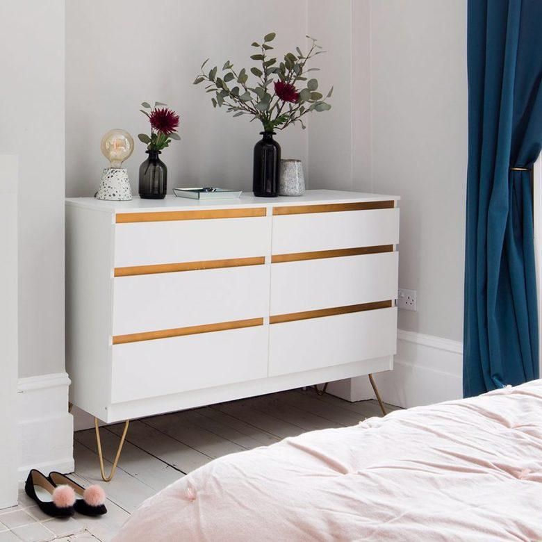 Komoda MALM IKEA podwójna biała ze złotem