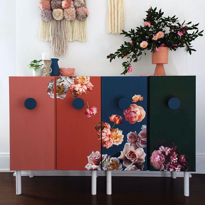 Ivar kolorowe w kwiaty, duże okrągłe uchwyty
