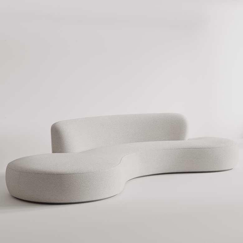 Zaokrąglona asymetryczna biała sofa Icone