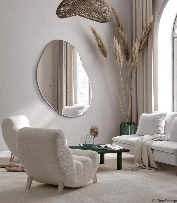 Lustro asymetryczne w salonie