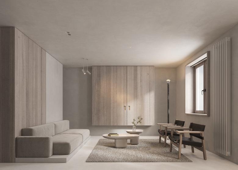Beżowy kolor w salonie, styl minimalistyczny