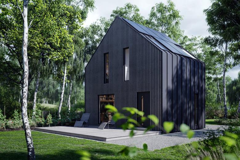 Dom modułowy w typie stodoły, czarny