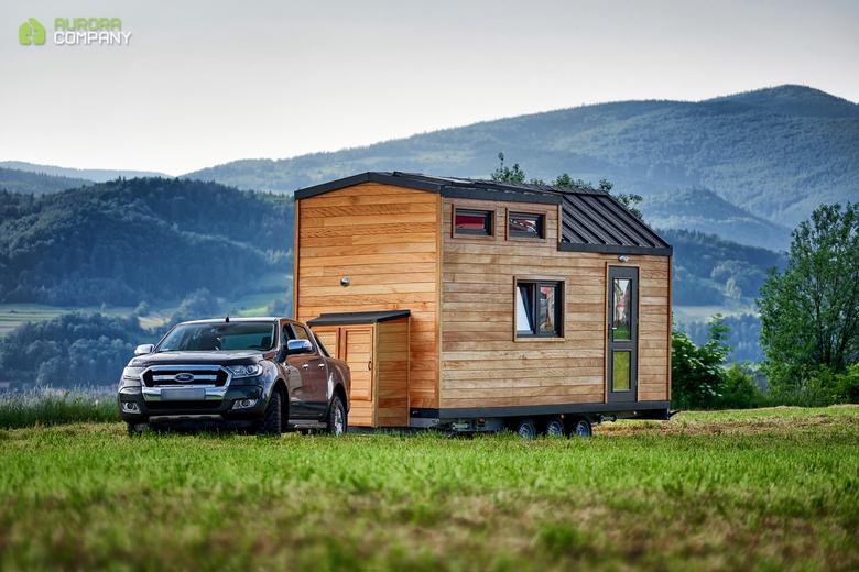 Domek na kołach drewniany, przyczepa, transport
