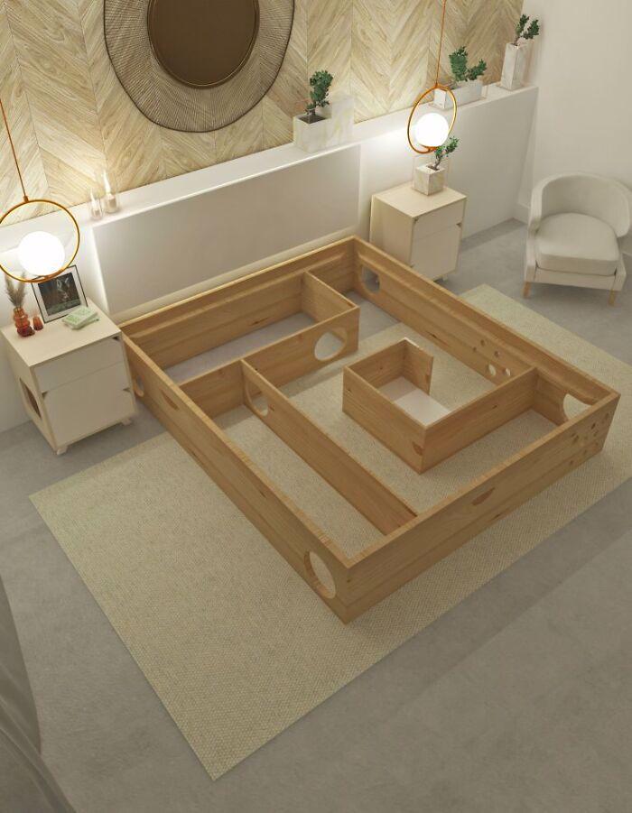 łóżko z labiryntem